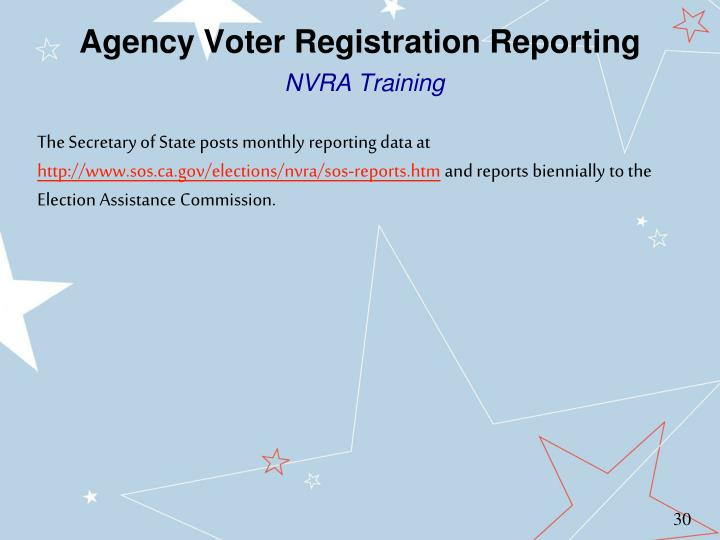 Agency Voter Registration Reporting