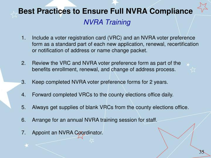 Best Practices to Ensure Full NVRA Compliance