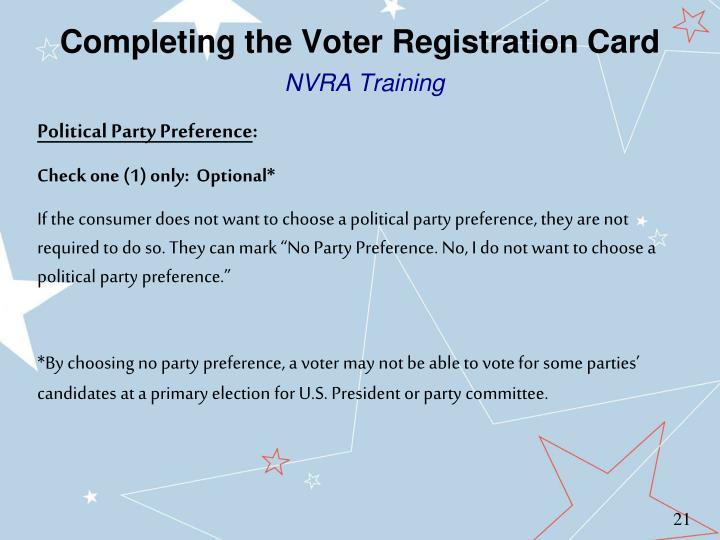 Completing the Voter Registration Card