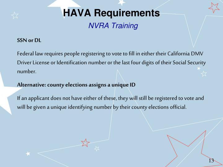 HAVA Requirements