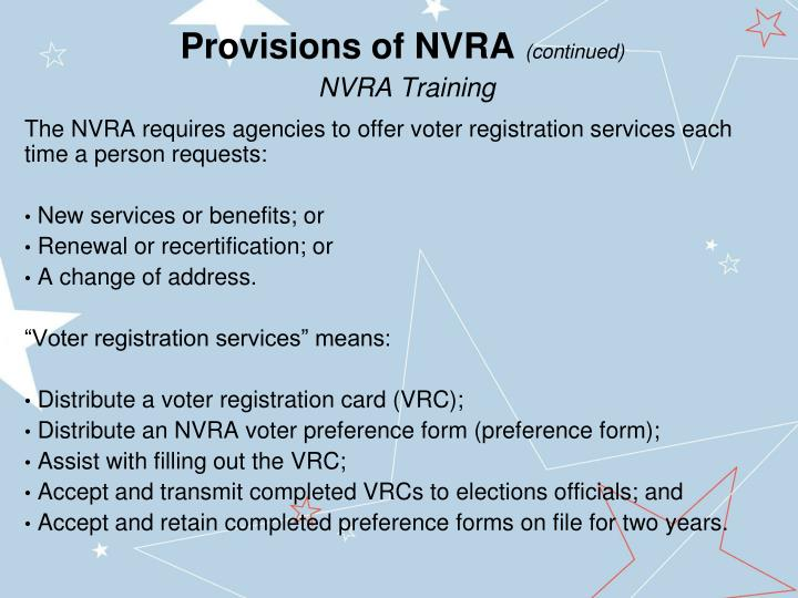 Provisions of NVRA