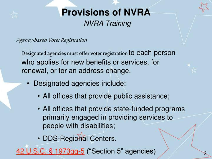 Provisions of nvra nvra training