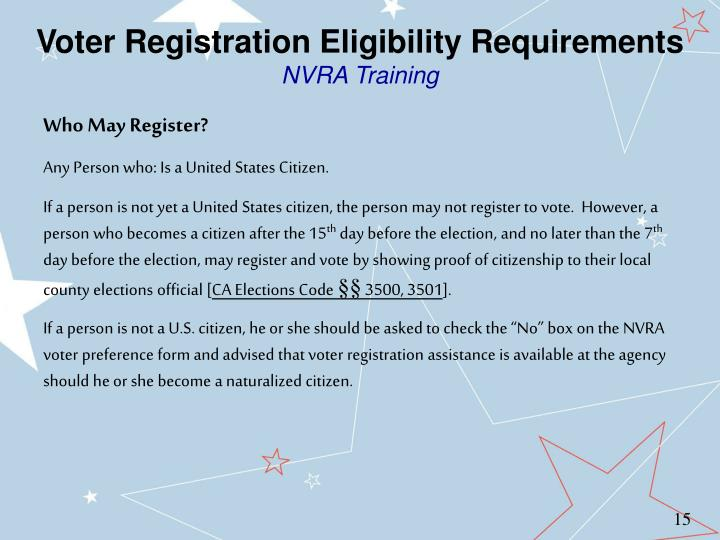 Voter Registration Eligibility Requirements