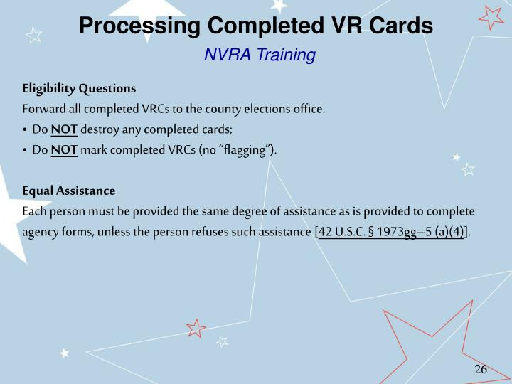Processing Completed VR Cards