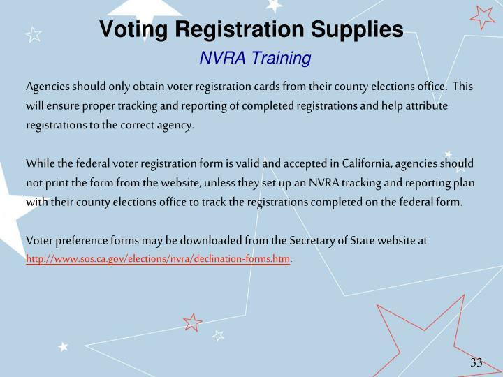 Voting Registration Supplies