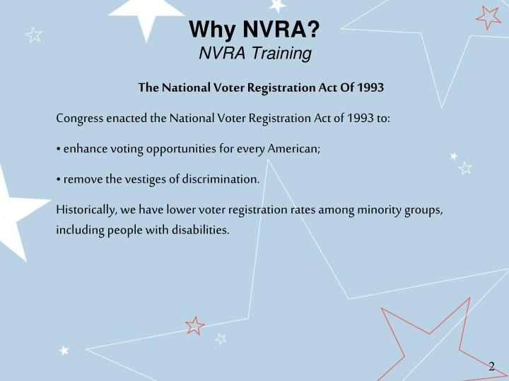 Why NVRA?