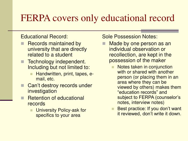 Ferpa covers only educational record