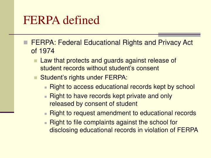 FERPA defined