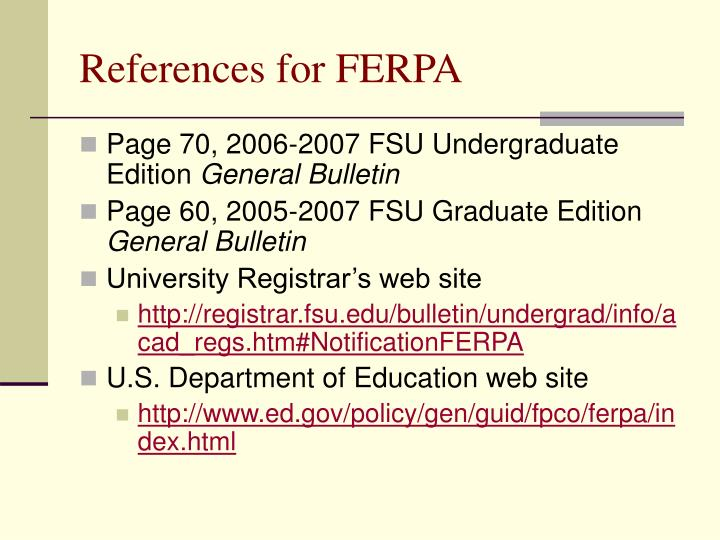 References for FERPA