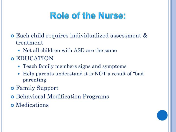 Role of the Nurse: