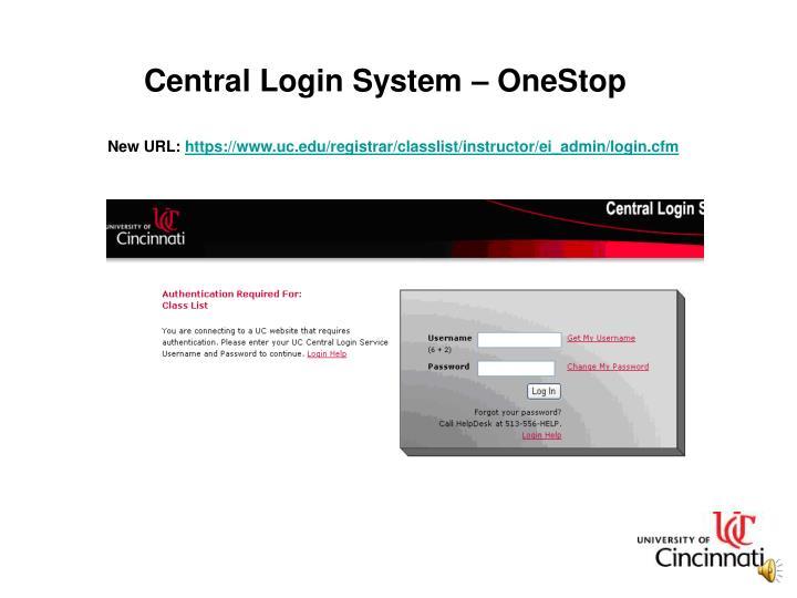 Central Login System – OneStop