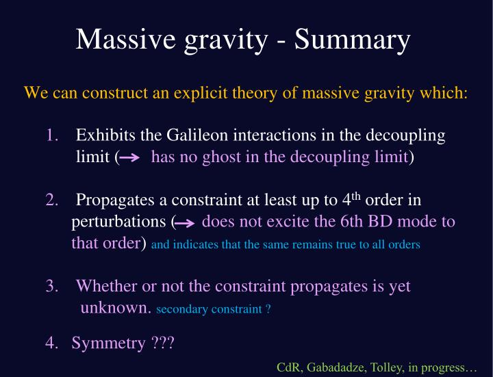 Massive gravity - Summary