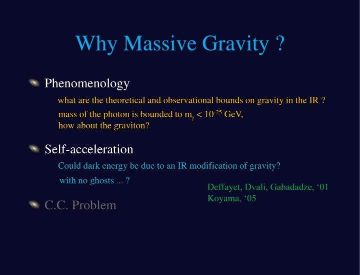 Why Massive Gravity ?