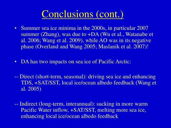 Conclusions (cont.)