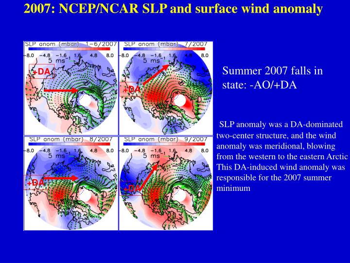 2007: NCEP/NCAR SLP and surface wind anomaly