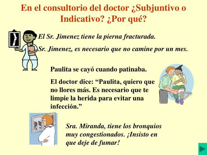 En el consultorio del doctor ¿Subjuntivo o Indicativo? ¿Por qué?