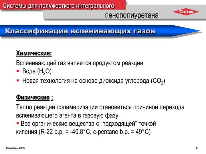 Классификация вспенивающих газов