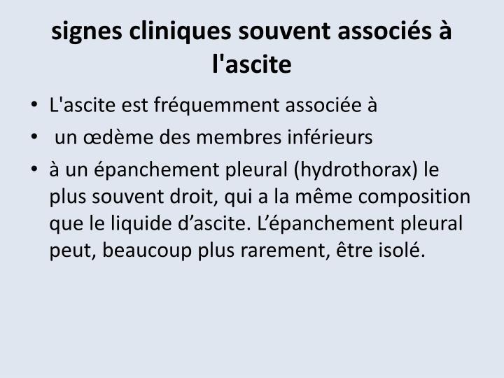 signes cliniques souvent associés à l'ascite
