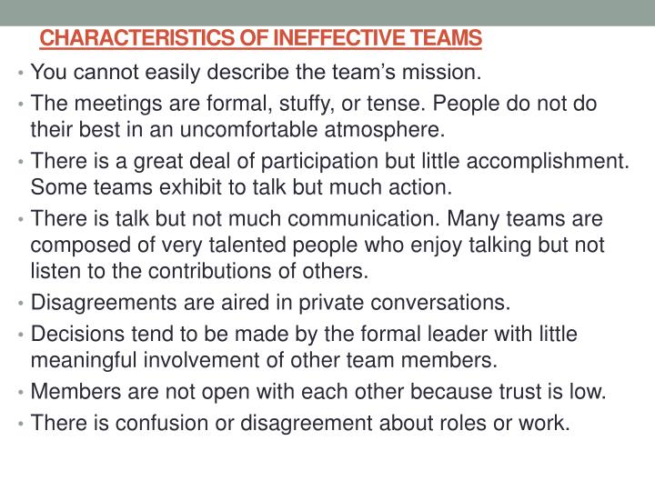CHARACTERISTICS OF INEFFECTIVE TEAMS