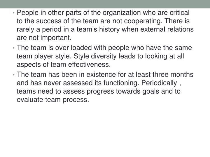 People in other parts of the organization who are critical to the success of the team are not cooperating. There is rarely a period in a team's history when external relations are not important.