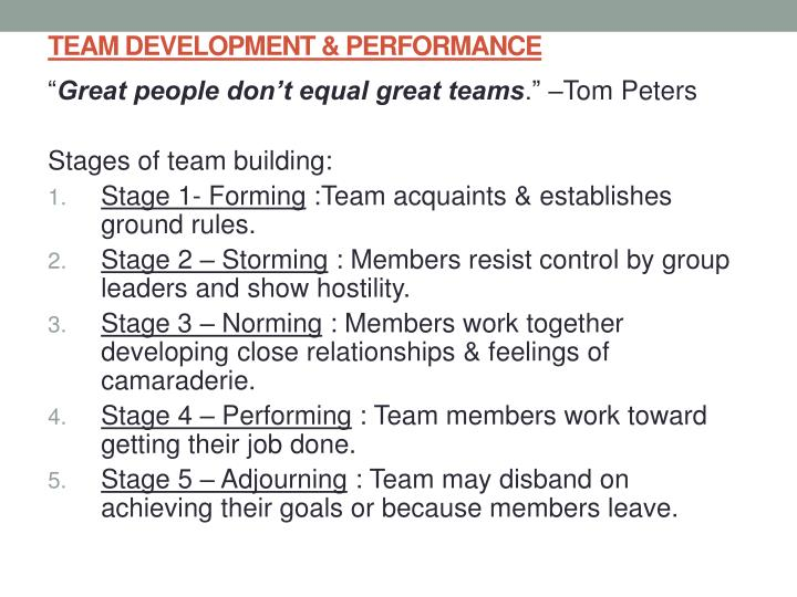 TEAM DEVELOPMENT & PERFORMANCE