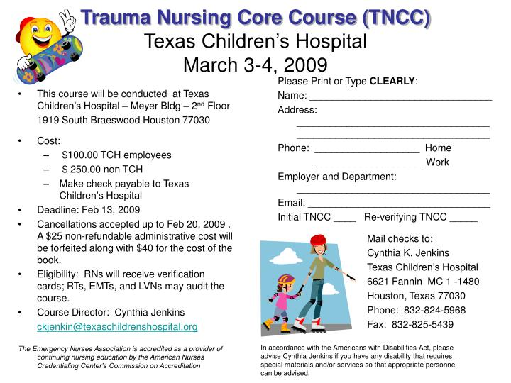 Trauma nursing core course tncc texas children s hospital march 3 4 2009
