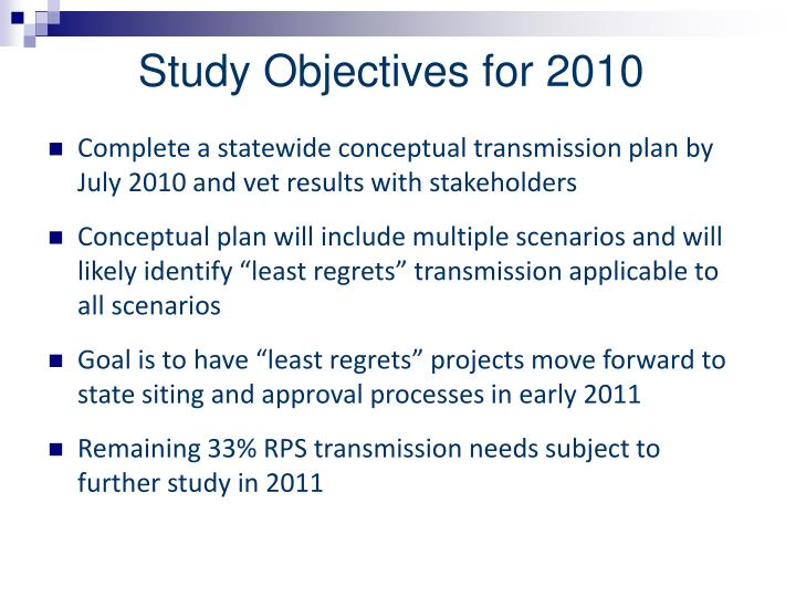 Study Objectives for 2010