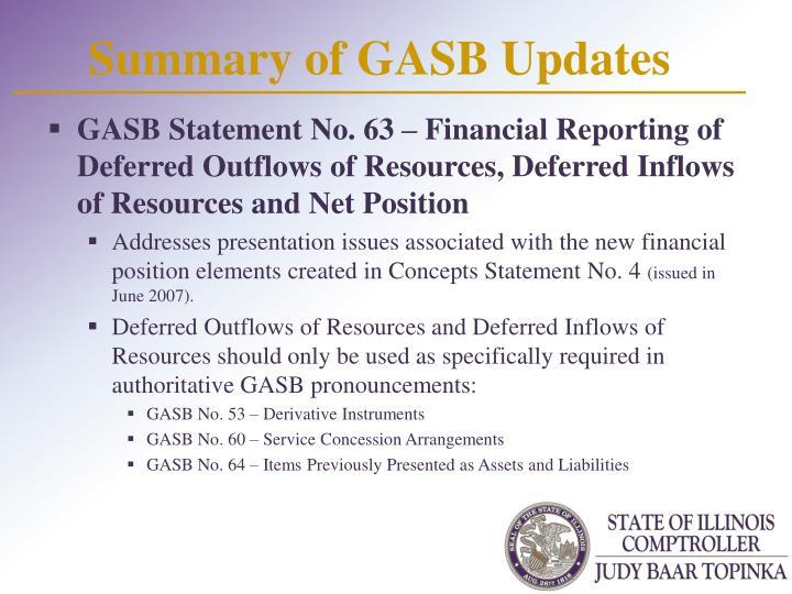 Summary of GASB Updates