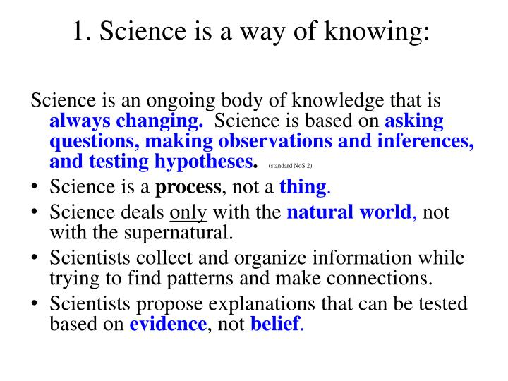 1 science is a way of knowing
