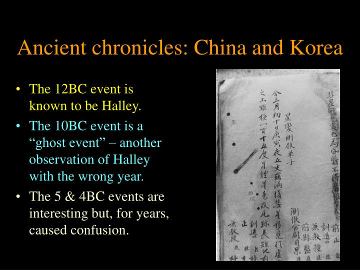 Ancient chronicles: China and Korea