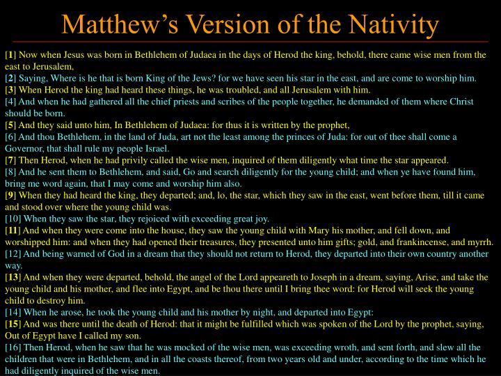 Matthew s version of the nativity