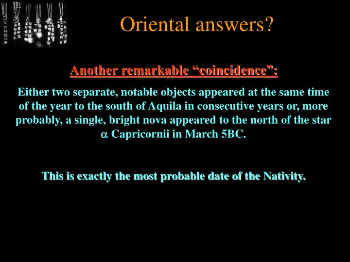 Oriental answers?