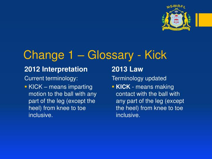 Change 1 – Glossary - Kick