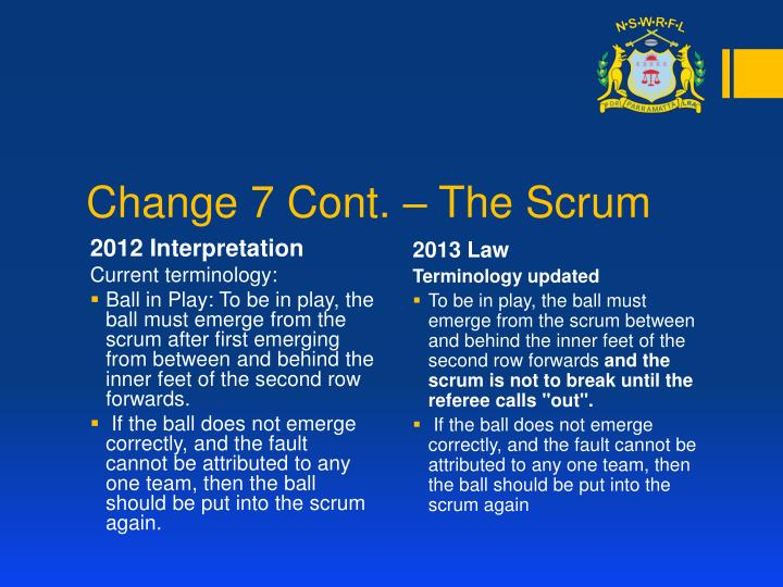 Change 7 Cont. – The Scrum