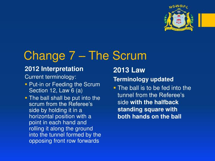 Change 7 – The Scrum