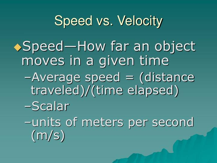 Speed vs. Velocity