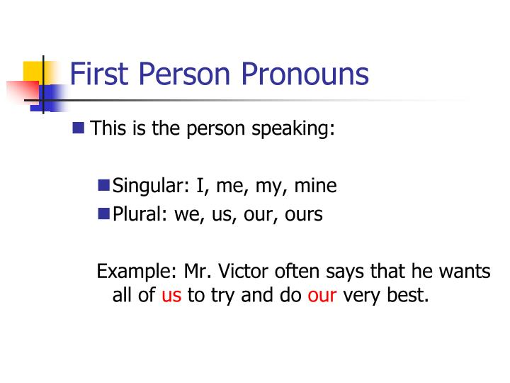 First person pronouns