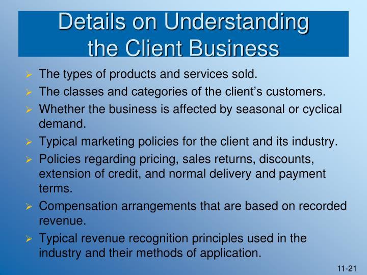 Details on Understanding