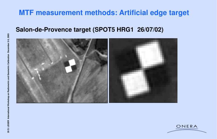 MTF measurement methods: Artificial edge target