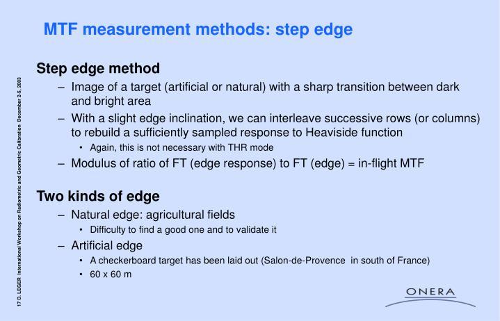 MTF measurement methods: step edge