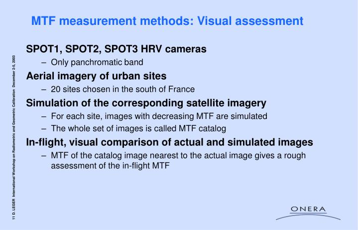 MTF measurement methods: Visual assessment