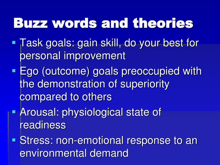 Buzz words and theories