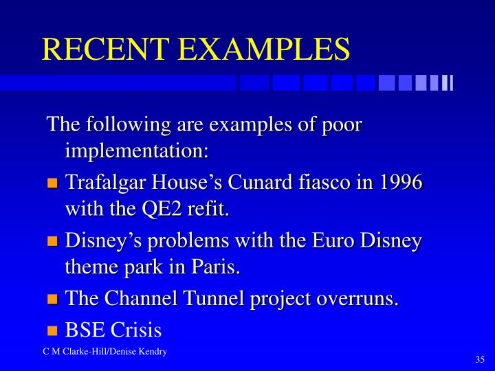 RECENT EXAMPLES