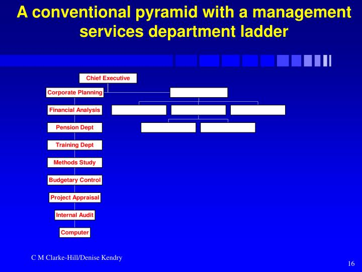 A conventional pyramid with a management services department ladder