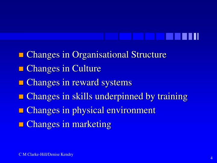 Changes in Organisational Structure