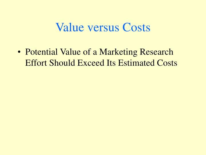 Value versus Costs