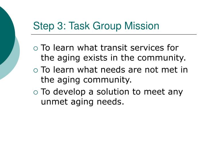 Step 3: Task Group Mission
