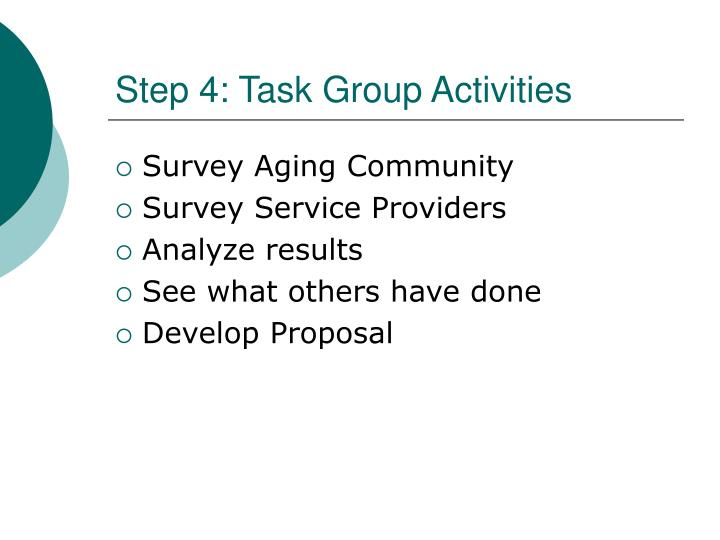 Step 4: Task Group Activities