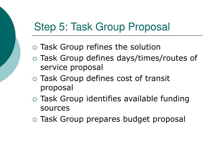 Step 5: Task Group Proposal