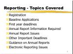 reporting topics covered